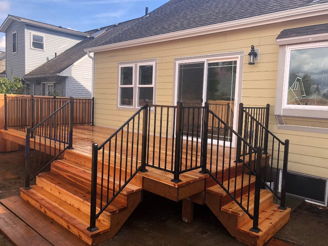small deck with rails
