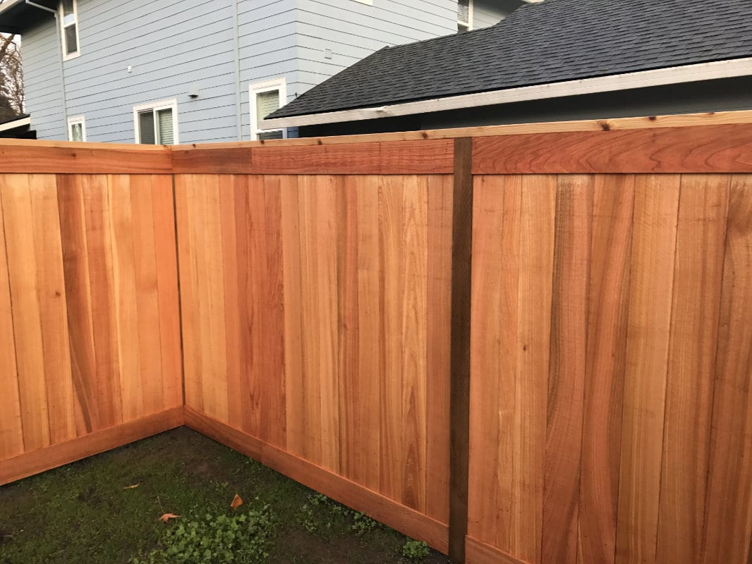 board on cedar fence