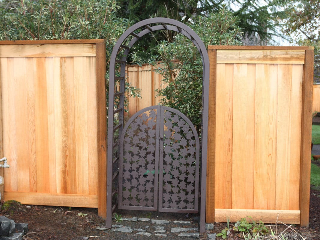 decorative cedar and metal gate