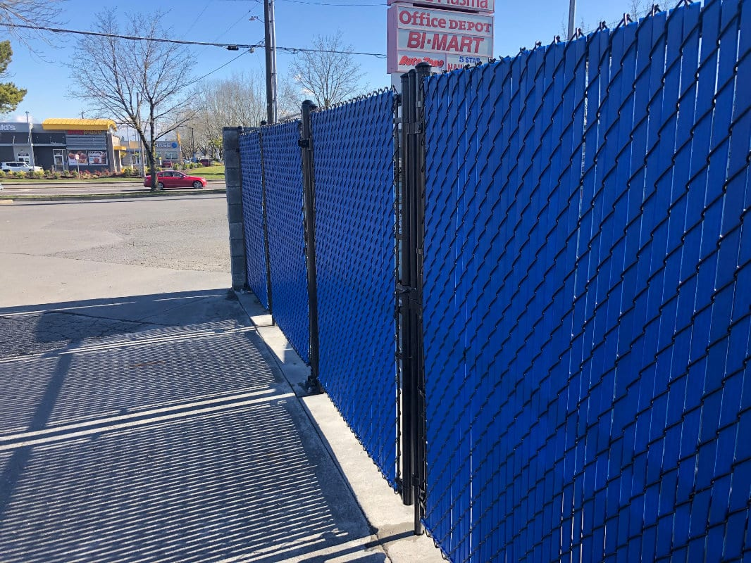 blue chain link fence