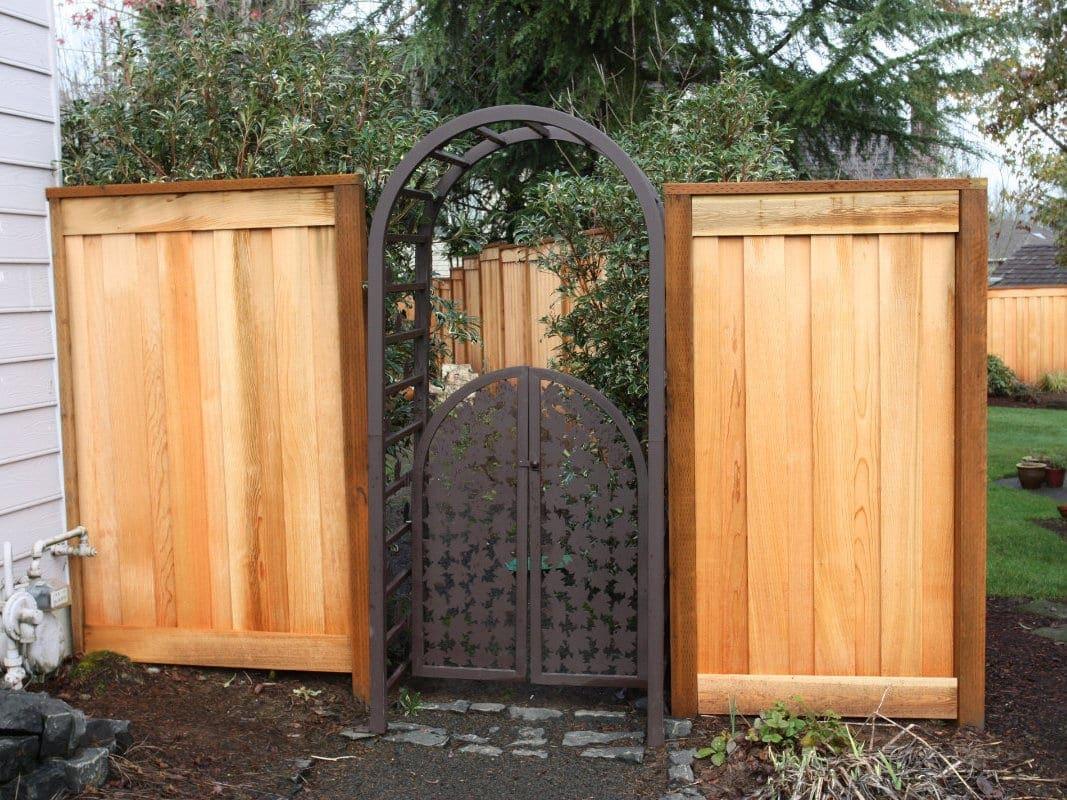 Cedar and Metal Decorative Gate