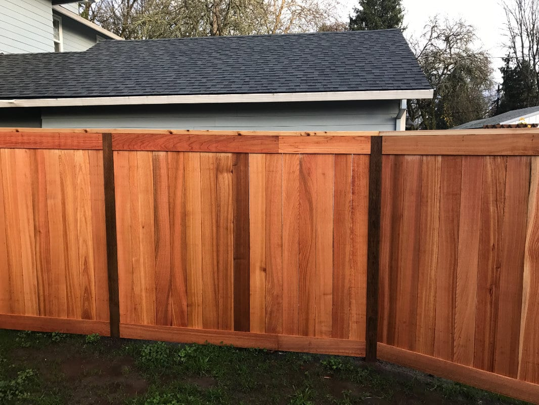 board on cedar fence