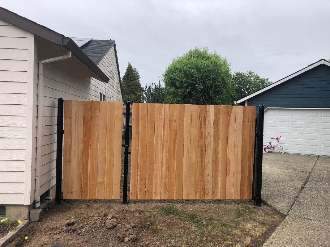 Metal Post Cedar Gate Front